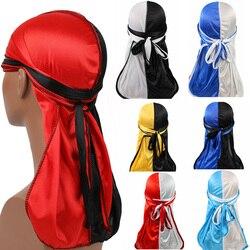 Unisex Satin Durag Bandanna Turban Silky Long Tail Scarf Cap Headwear Black Red Hot Sale 2020 New Fashion Patchwork Pirate Hat