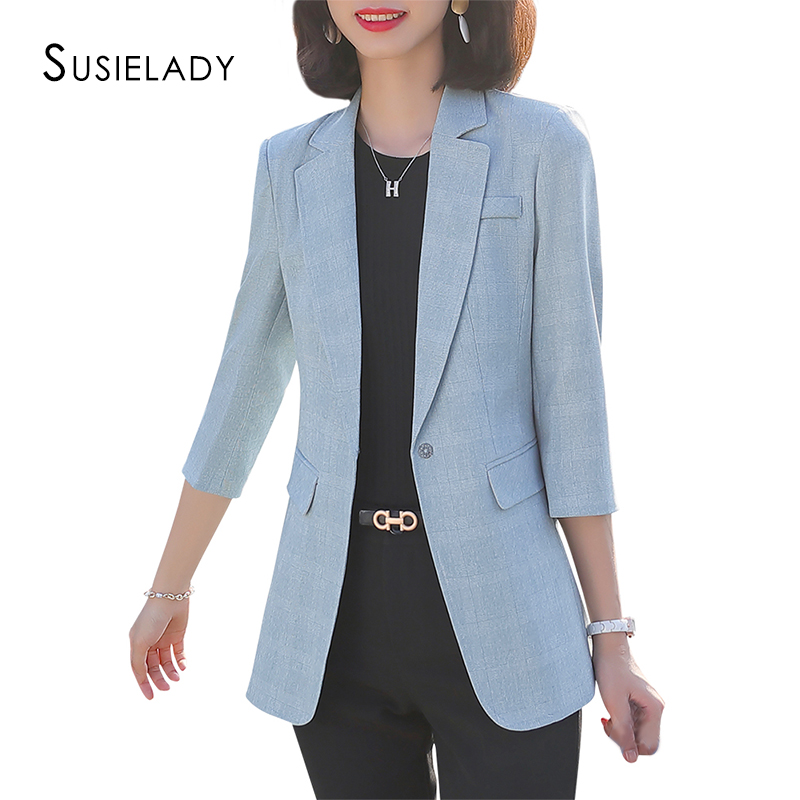 Women's Office Blazer Jacket One Button Work Blazers Jackets 3/4 Sleeve Blazer For Women Solid Casual Basic OL Blazers