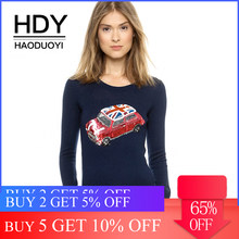 HDY Haoduoyi Apparel Navy Blue Car Embroidery Sequined Fashion Sweater O-neck Full Sleeve Lady Tops Slim Casual Female Pullovers(China)