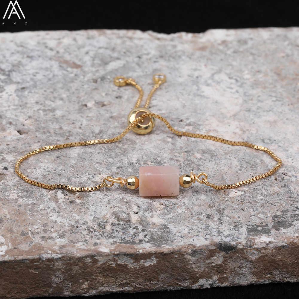 ธรรมชาติเรียบสีชมพูโอปอลเดี่ยว Chunky ลูกปัดสร้อยข้อมือ Boho ผู้หญิง Nugget หินลูกปัดทอง Mala สร้อยข้อมือ N0438AMD