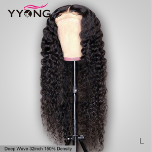 YYong 5x5 6x6 Brazilian Deep Wave Lace Closure Wigs Pre Plucked Hairline With Baby Hair Remy 100% Human Hair Wig 150% Density(China)