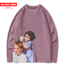 Aelfric Eden charakter nadrukowane bluzy męskie 2019 jesień Harajuku Streetwear znosić z długim rękawem Casual Cotton męskie swetry
