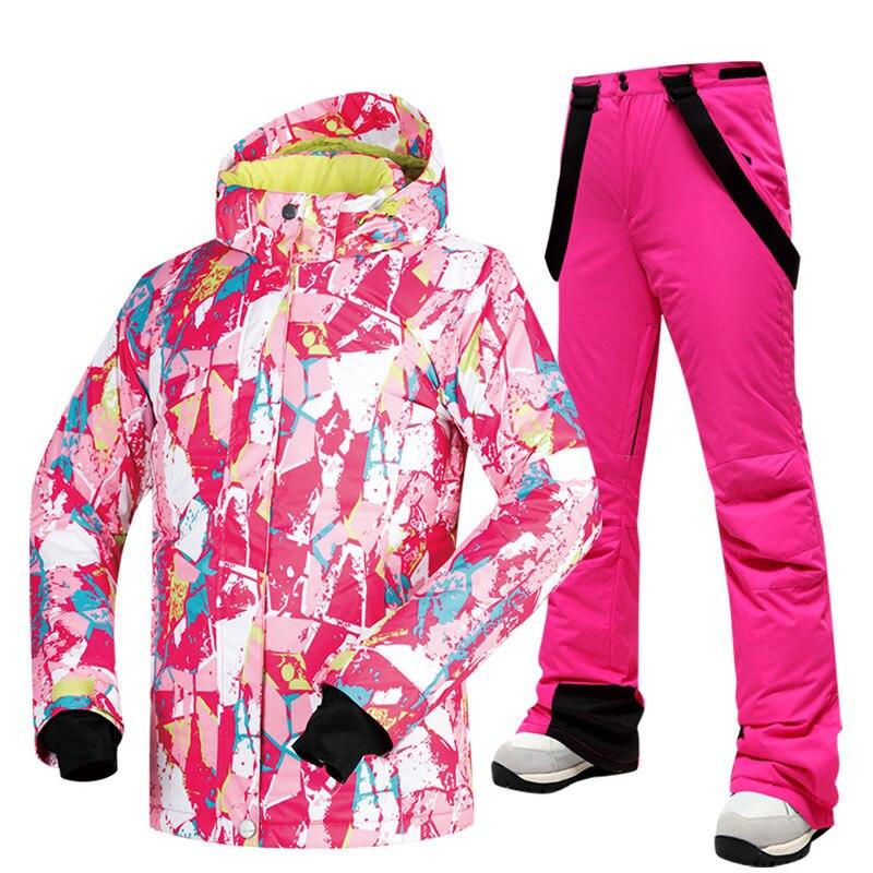 -30 температурный лыжный костюм для женщин, брендовая зимняя ветрозащитная Водонепроницаемая теплая зимняя куртка и штаны, брендовая куртка для сноуборда