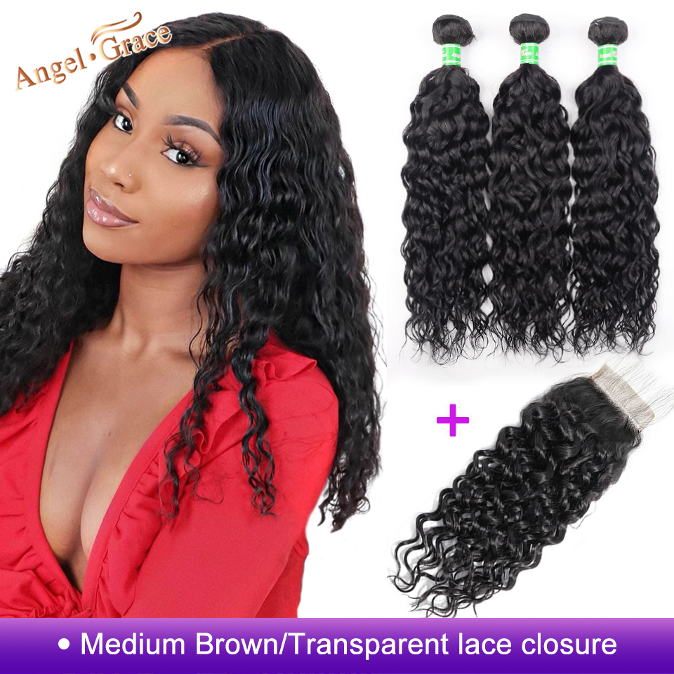 AngelGrace Hair Water Wave Bundles With Closure Remy Human Hair 3 Bundles With Closure Brazilian Hair Weave Bundles With Closure