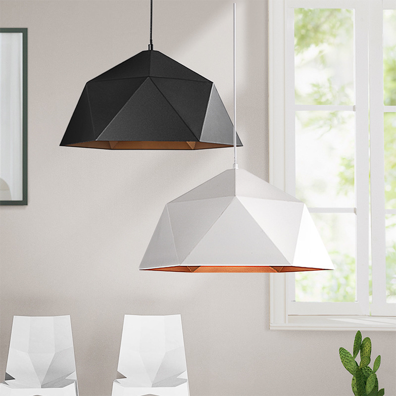 Geometric Polygon Lampshade Of Retro Industrial Wind Pendant Lamp Kitchen Hanging Lamps Modern Light Fixture Black Iron Light