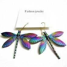 Arco-íris colorido psicodélico sorte libélula inseto gota fantasia brincos únicos brincos exclusivos para meninas feminino presente