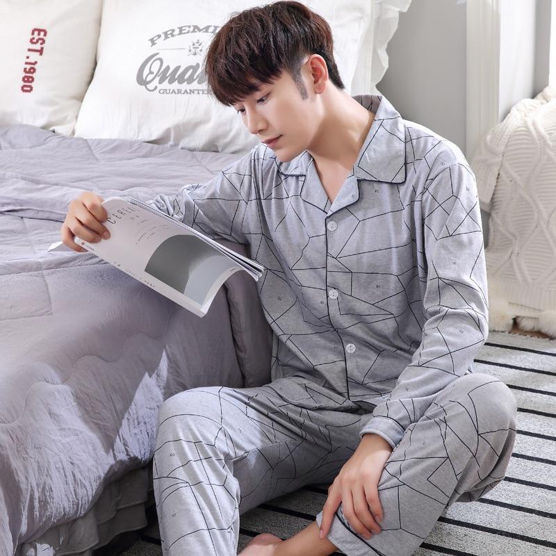 Pyjamas Men Male Homewear Long-Sleeve Casual Hombre100%Cotton For Plus-Size