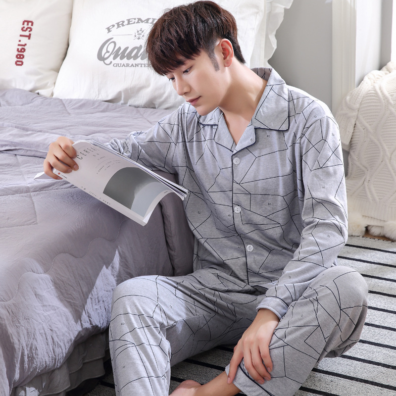Plus Size Pyjamas Men Pijamas Hombre100% Cotton Long-sleeve Casual Sleepwear Men Homewear Pajamas Sets For Male