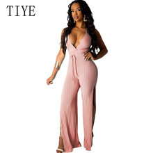 TIYE Women Sexy Open Back V-neck Straps Split Wide-leg Pants Loose Personality Jumpsuits Elegant Sleeveless Playsuits Overalls цена