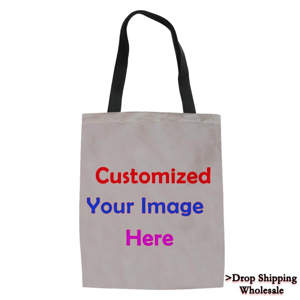 Nouveau personnalisé réutilisable toile sac à provisions épicerie Eco pliable femmes Mesenger sacs toile fourre-tout livraison directe en gros