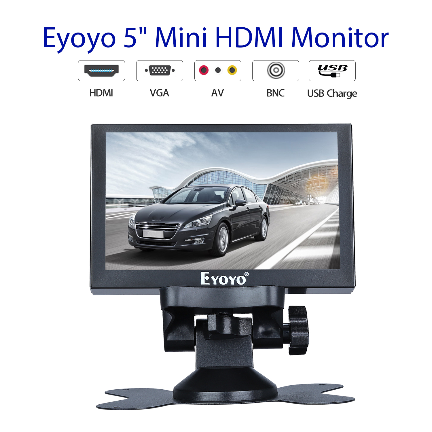 """Eyoyo S501H 5.5"""" IPS HDMI display 4:3 LCD mini screen 800x480 support VGA BNC AV USB with remote control for pc CCTV security