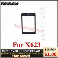 Novaphopat 10 pçs/lote vidro preto para philips xenium x623 623 lente de vidro não toque digitador da tela substituição do painel