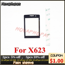 Novaphopat 10 ピース/ロット黒ガラスフィリップス xenium X623 623 ガラスレンズないタッチスクリーンデジタイザパネルの交換