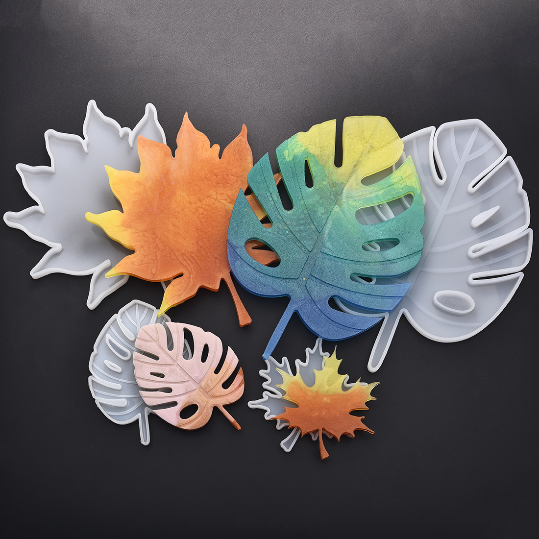 Casting Coaster Silicone Molds Maple Leaf Epoxy Resin Molds DIY Coasters Mould Jewelry Making Tools