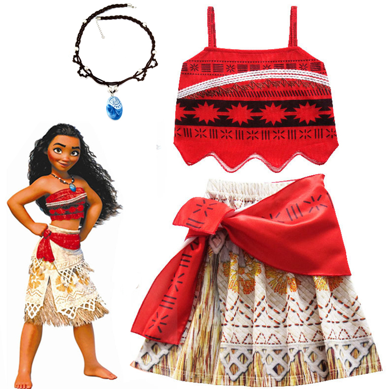 2021 Girls Moana Cosplay Costume for Kids Vaiana Princess Dress with Necklace Halloween Costumes Baby Children Party Clothes
