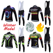 2020 Men's Winter Thermal Fleece Cycling Jersey Bib Pants Sets Bike Clothing Kits Bicycle Clothes Suit Mtb Uniform Dress Outfit