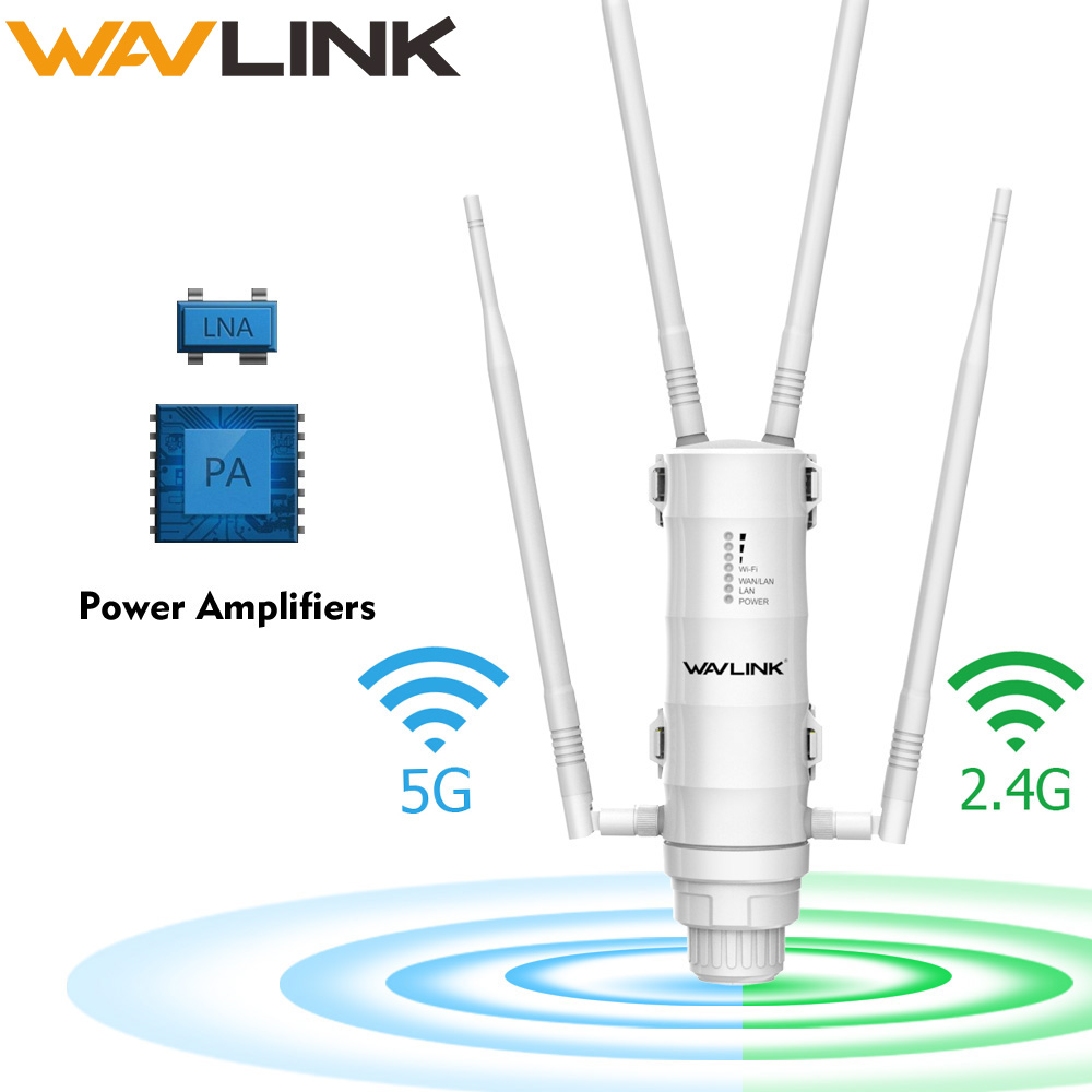 Wavlink Outdoor WiFi Range Extender Wireless Access Point Dual Band 2.4G+5Ghz High Power Wifi Router/Repeater Signal Booster POE