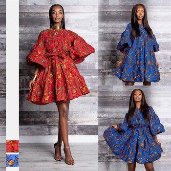 2019 جديد فساتين الأفريقية للنساء dashiki موضة الملابس طباعة الغنية بازان سوينغ الكشكشة كم فضفاض السيدات الملابس 1