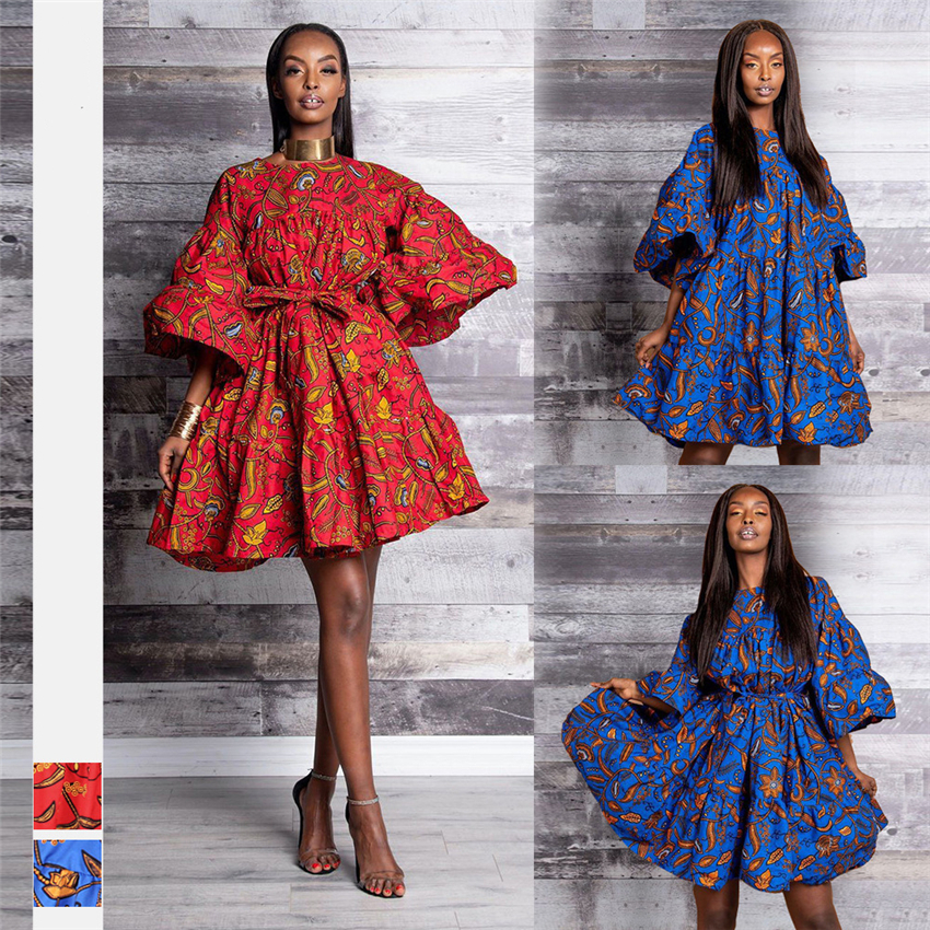 2019 New African Dresses For Women Dashiki Fashion Clothing Print Rich Bazin Swing Ruffle Sleeve Loose Ladies Clothes