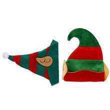 Red Green Striped Design Christmas Elf Hat Adults With Ears One Size Fits Most Non-woven Elf Hat With Ears(China)
