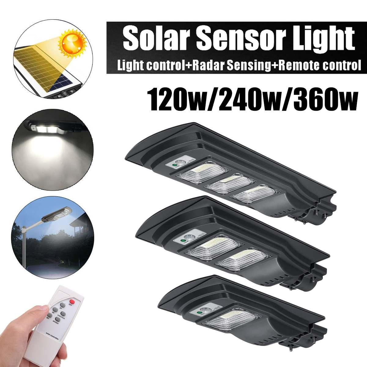 Smuxi  Solar Street Light  Radar Motion 360W/240W/120W LED Gray IP65Constantly Waterproof Induction Solar Sensor Remote Control
