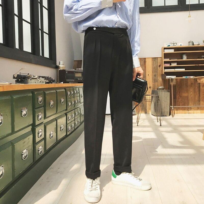 Men's Silk Formal Business Casual Pants, Western-style Trousers, Vertical Slim Suit Pants, Black/grey/Beige Color Social Pants