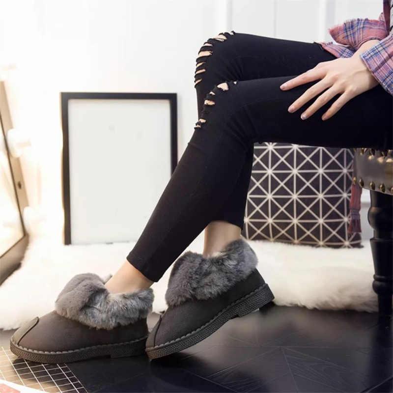 Kadın süet kar botları kadın sıcak peluş kürklü kısa çizmeler kadın üzerinde kayma platform ayakkabılar bayanlar rahat sığ moda bot yeni
