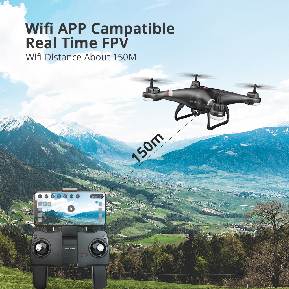 Holy Stone HS110G GPS Drone With 1080P HD Camera FPV Live Video RC Helicopter FOV 120° Wide-Angle RC Drone Camera Quadcopter (Black Drone)