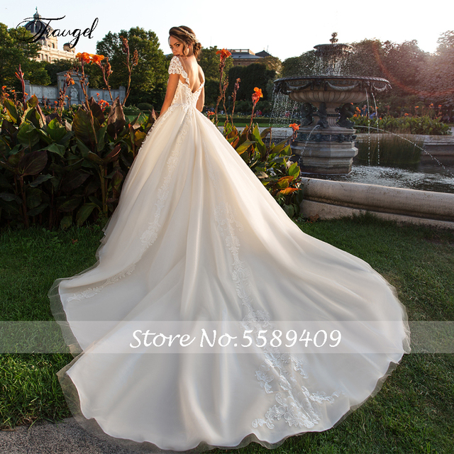 Traugel Scoop A Line Lace Wedding Dresses Chic Applique Short Sleeve Backless Bride Dress Cathedral Train Bridal Gown Plus Size 2