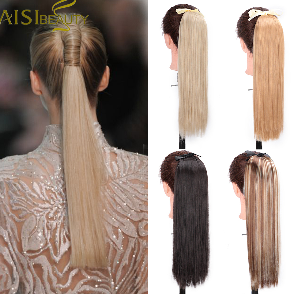 AISI BEAUTY Long Straight Hair Extensions Synthetic High Temperature Silk Straight Ponytail Hair Blonde Brown Black For Women
