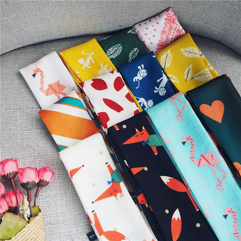 90X5cm NEW Fox Animal Printed Silk Scarf For Women Tie Scarf Bag Handle Ribbon Scarf Girl Joker Silk Scarves Long Neck Scarf