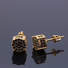 Europe and America Inlaid Zircon Earrings Hip Hop Jewelry Gift for Women! цена
