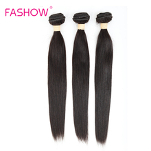 Fashow 3 Bundles Brazilian Straight Hair 100% Human Extensions Double Weft Remy Weave12 14 16 18 20 22 24 26 28 Inches