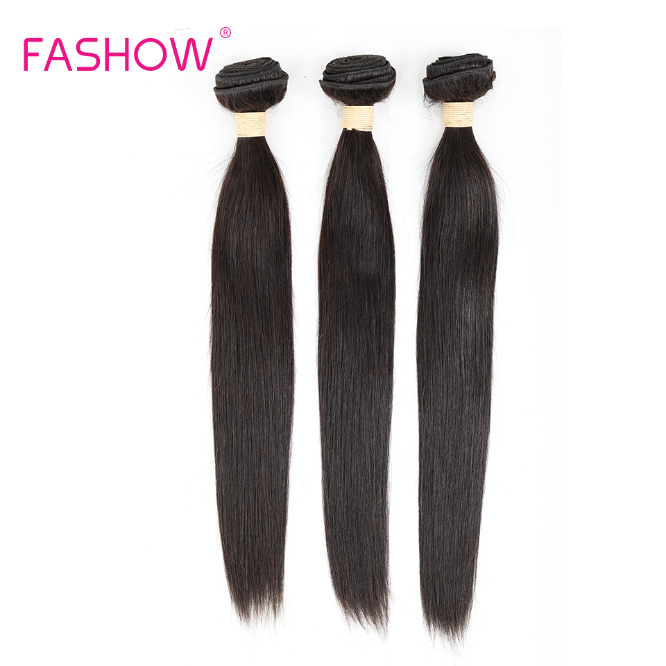Fashow 3 <font><b>Bundles</b></font> Brazilian Straight Hair 100% Human Hair Extensions Double Weft Remy Hair Weave12 14 16 18 20 <font><b>22</b></font> <font><b>24</b></font> <font><b>26</b></font> <font><b>28</b></font> Inches image
