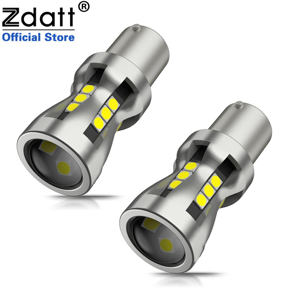 Zdatt 2Pcs Car Light 1156 <font><b>LED</b></font> <font><b>BA15S</b></font> P21W <font><b>LED</b></font> BAU15S PY21W BAY15D 1157 P21/<font><b>5W</b></font> <font><b>R5W</b></font> 21 SMD 3030 Auto Lamp Bulbs <font><b>LED</b></font> <font><b>12V</b></font> - 24V image