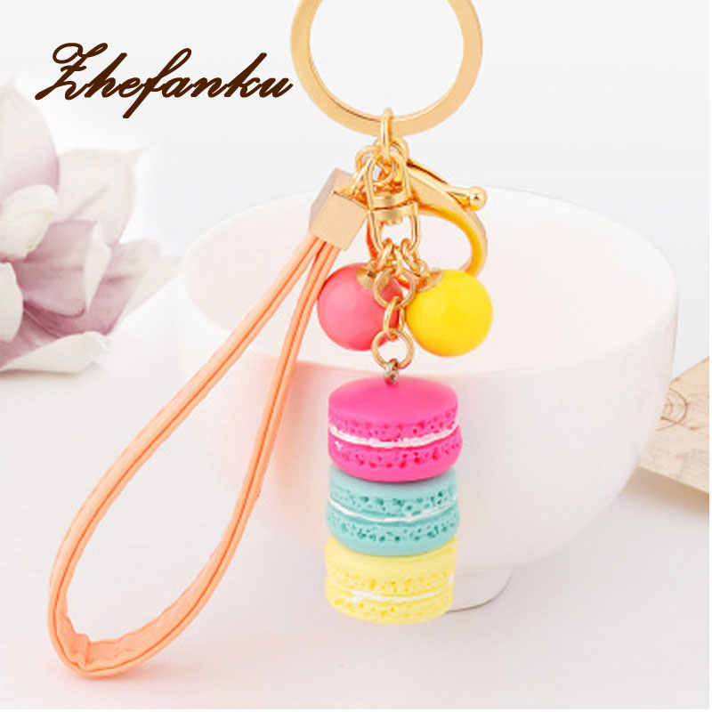 New Creative Macarons Cake Keyring Hot Key Chain Hide Rope Pendant Fashion Keychains Car Keyrings Women Bag Charm Trinket