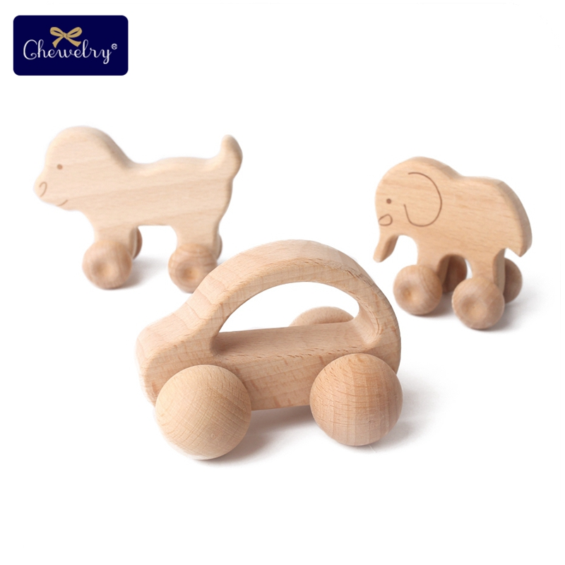 1pc Baby Toys Wooden Teething Rodent Beech Wood Dog Car Cartoon Wooden Toy Grasping Teething Chewable Toddler For Children Goods