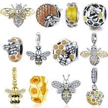 Горячая Распродажа пчелы шарма 925 пробы серебро с изображением пчелы со стразами бусины с насекомыми, пригодный для Браслеты, оригинальный ...