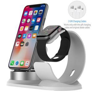 Image 1 - 4 in 1 DIY masa Apple için şarj Dock standı standı masa şarj telefon tutucu istasyonu iPhone X/8P/7/6/SE şarj Airpods için