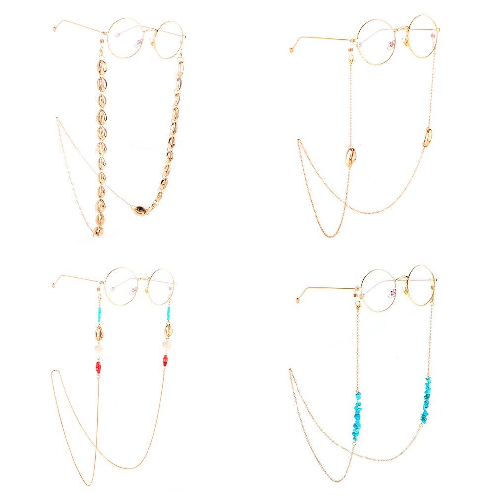 Fashion Gold Metal Shell Reading Glasses Chain Sunglasses Eyewears Cord Holder Neck Strap Rope Necklace Eyeglass String Lanyard