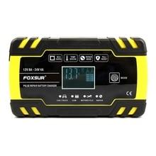חדש Foxsur 12V 8A 24V 4A דופק תיקון מטען עם Lcd תצוגה, אופנוע & רכב סוללה מטען, 12V 24V Agm Gel רטוב עופרת חומצה