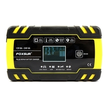 New Foxsur 12V 8A 24V 4A Pulse Repair Charger with Lcd Display, Motorcycle & Car Battery Charger, 12V 24V Agm Gel Wet Lead Acid
