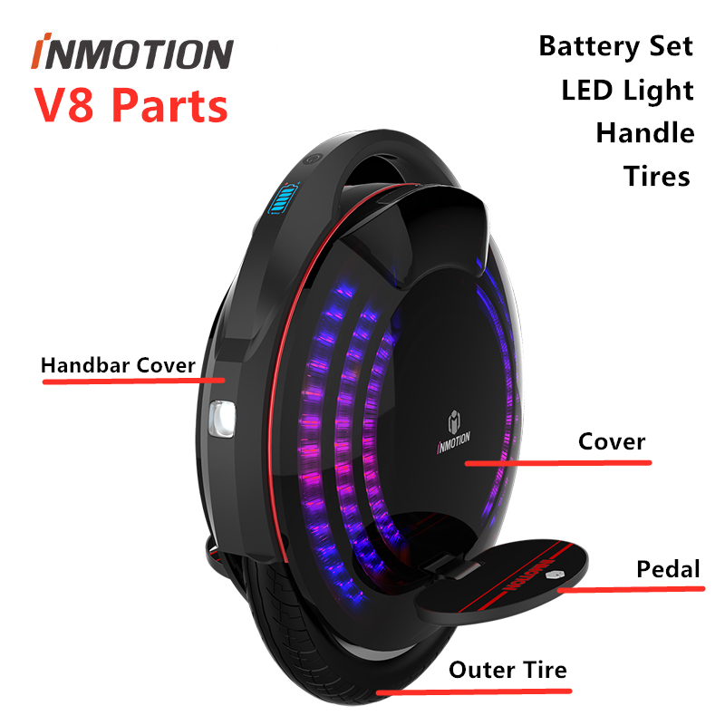 Original INMOTION V8 Parts Unicycle Scooter Body Shell Protect Cover Adjustable Handle Pedal Sticker Inner Tires LED Accessories