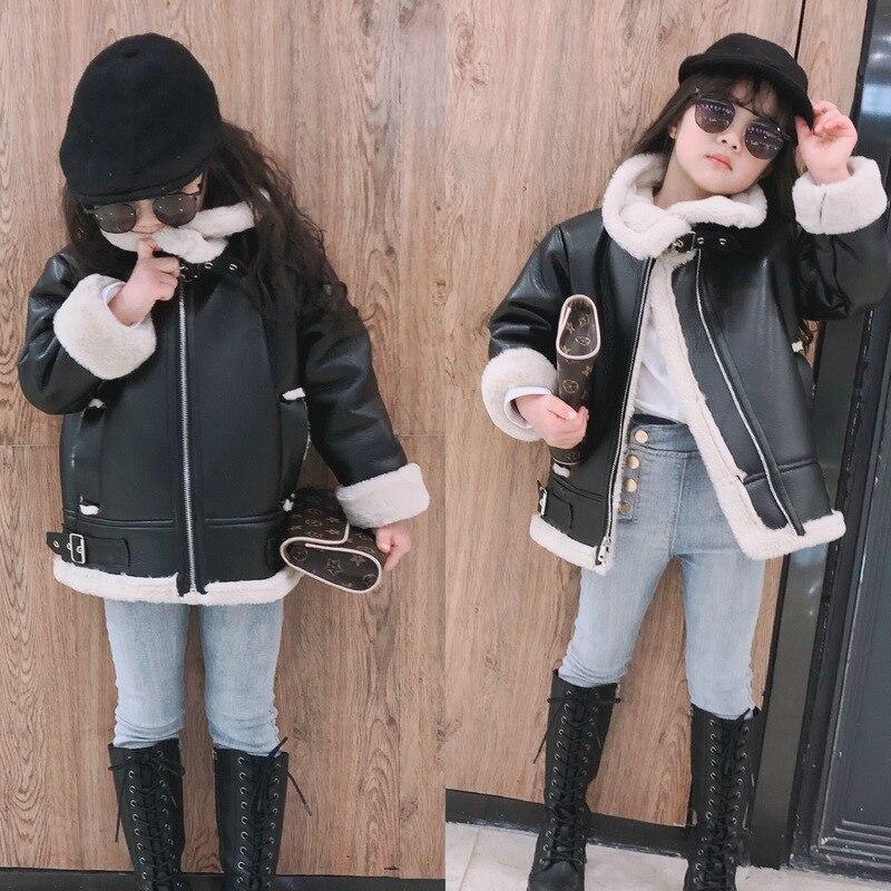 Vestes en cuir pour filles 2019 hiver vestes en cuir synthétique polyuréthane pour enfants filles fourrure vêtements d'extérieur longues filles manteaux et vestes enfants manteau