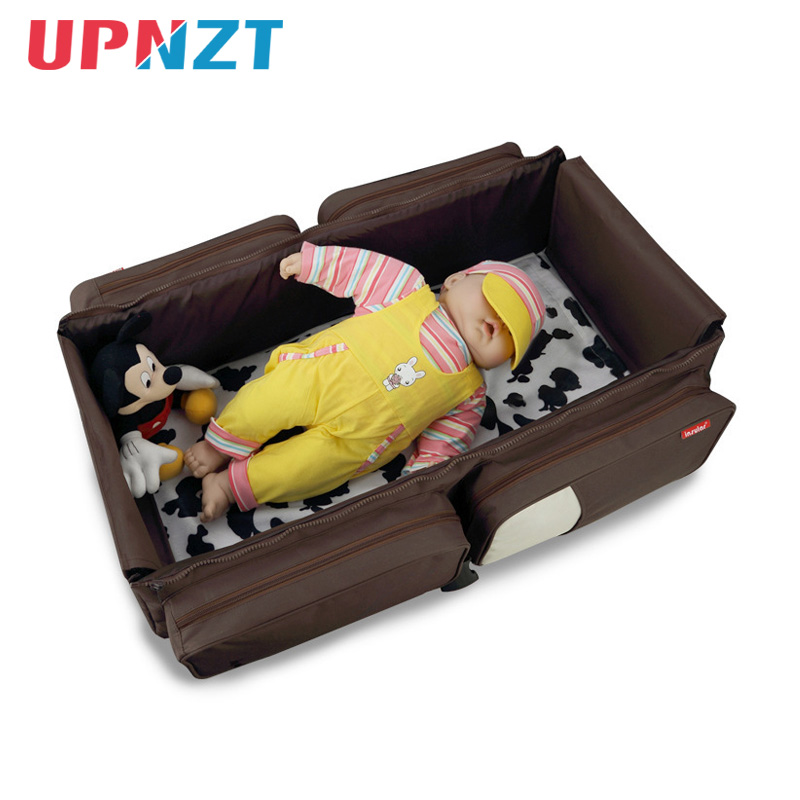 Portable Baby Cribs Multifunction 2 In 1 Diaper Mummy Bag Newborn Safe Travel Folding Baby Bed Nappy Stroller Bags
