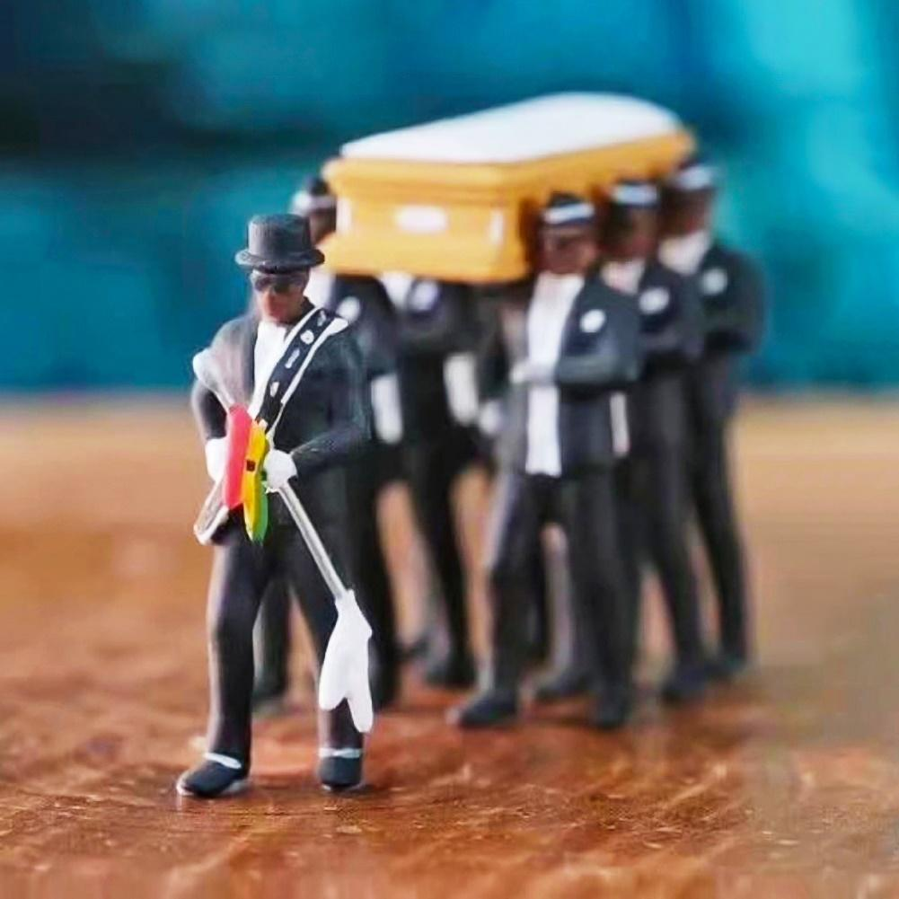 1 64 High Simulation Plastic Ghana Funeral Coffin Dancing Pallbearer Team Model Exquisite Workmanship Action Figure