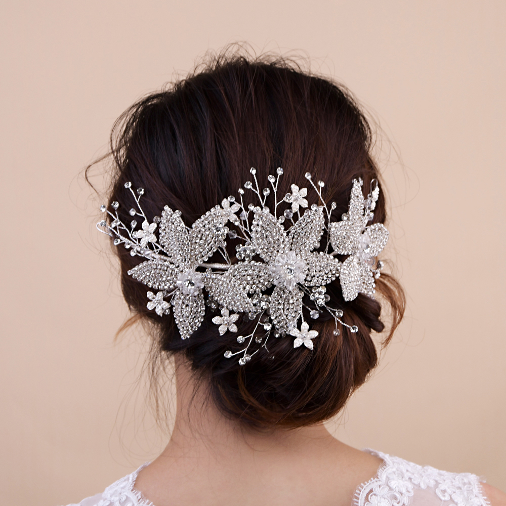 TRiXY H252-S Silver Diamonds Wedding Hair Accessory Crystal Bridal Crown Flora Tiaras Bridal Hair Crown Wedding Tiara Crown