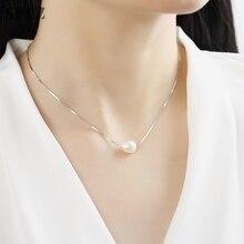 925 стерлингового серебра ожерелье 8-9 мм подлинных природных пресноводный жемчуг кулон ожерелья Для женщин ювелирные изделия подарок