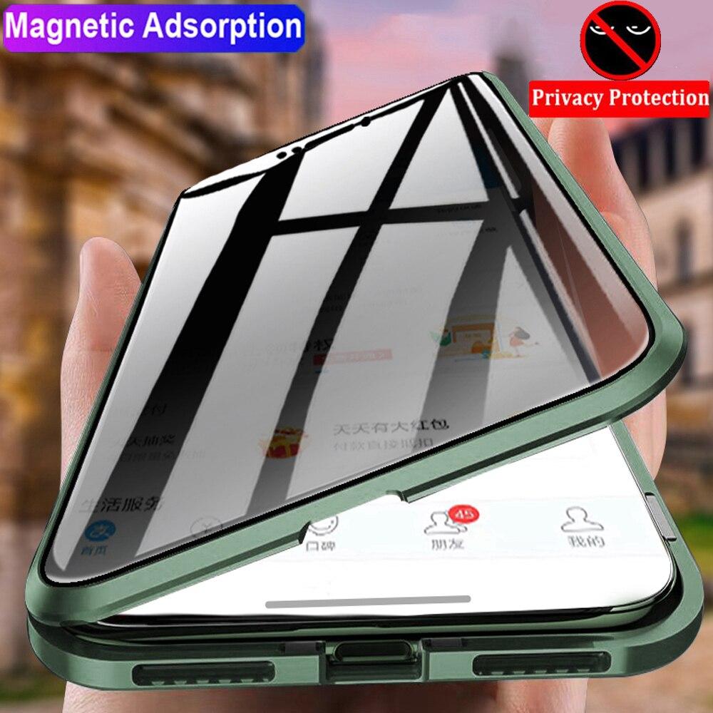Capa de vidro de privacidade magnética, anti-espionagem 360 para iphone 11 xr xs capa 11 pro 6s 7 8