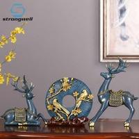 Strongwell European Elk Statue Set Modern Art Ornaments Creative Sculpture Desktop Resin Craft Home Decoration Wedding Gift